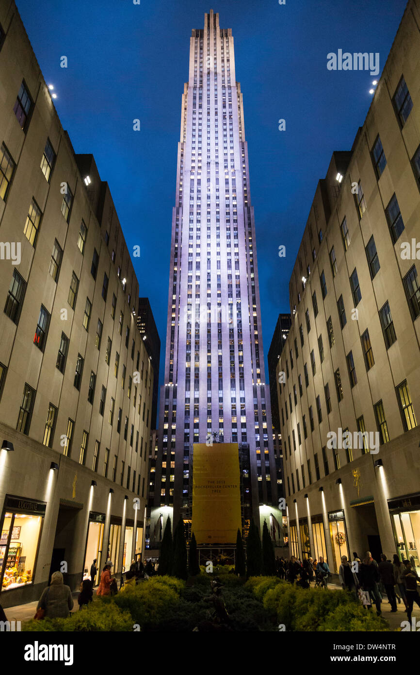 Rockefeller Center at Night at Christmas Time, NYC Stock Photo ...