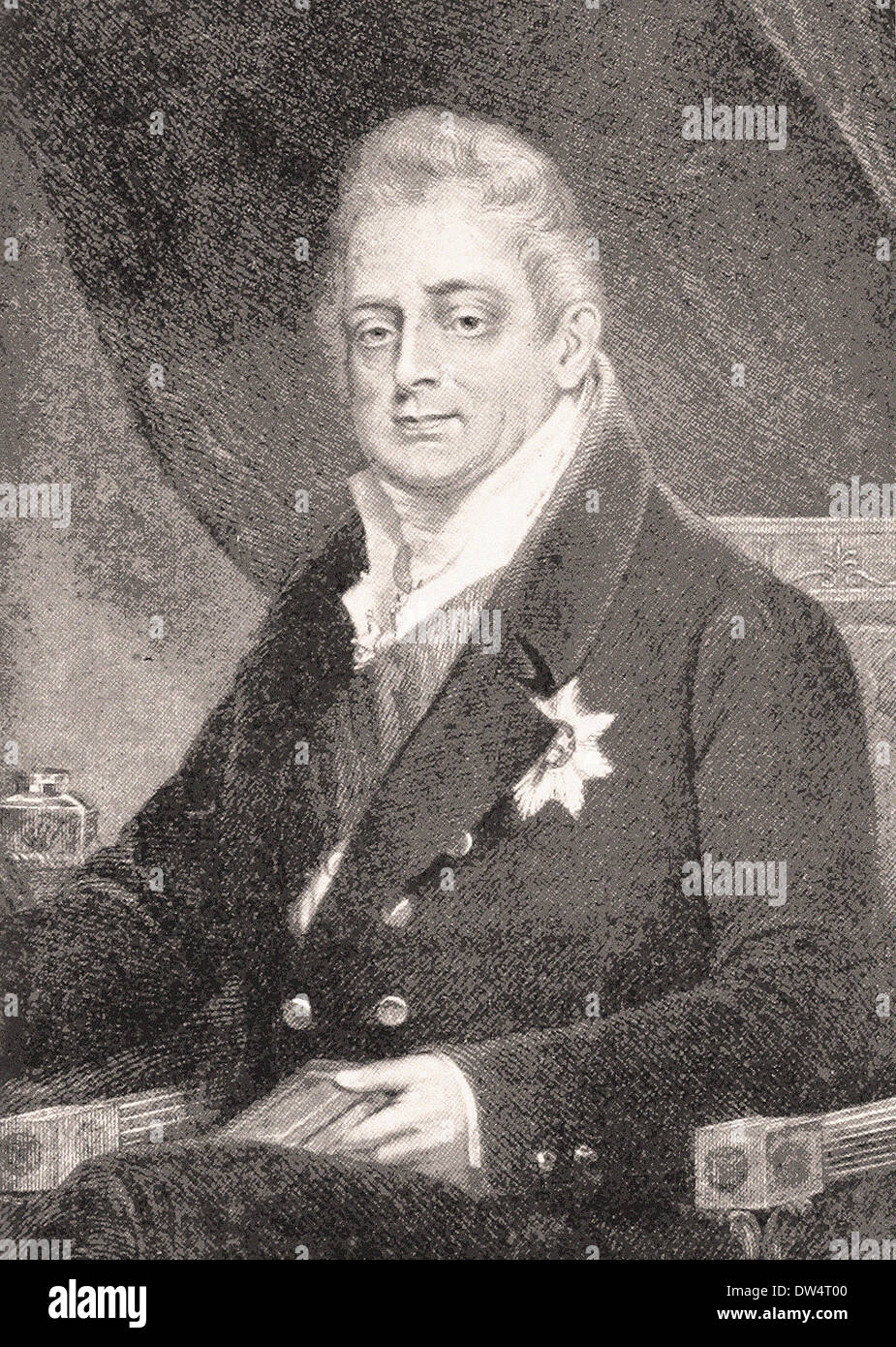 Portrait of King William IV - American engraving XIX th century - Stock Image