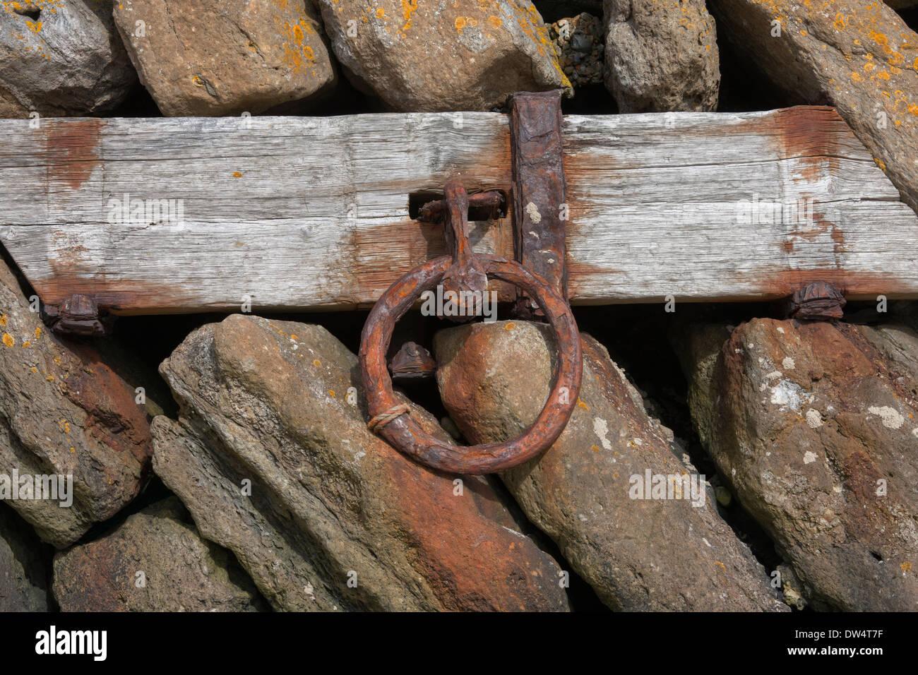 Mooring ring inset in pier, Folkestone harbour, Folkestone, Kent, England - Stock Image
