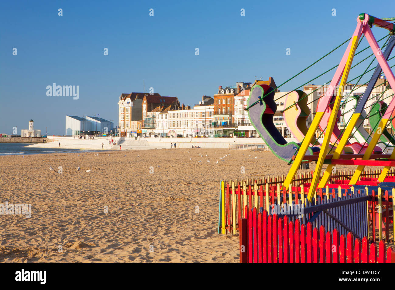 Swings on Margate beach, Margate, Kent, England - Stock Image