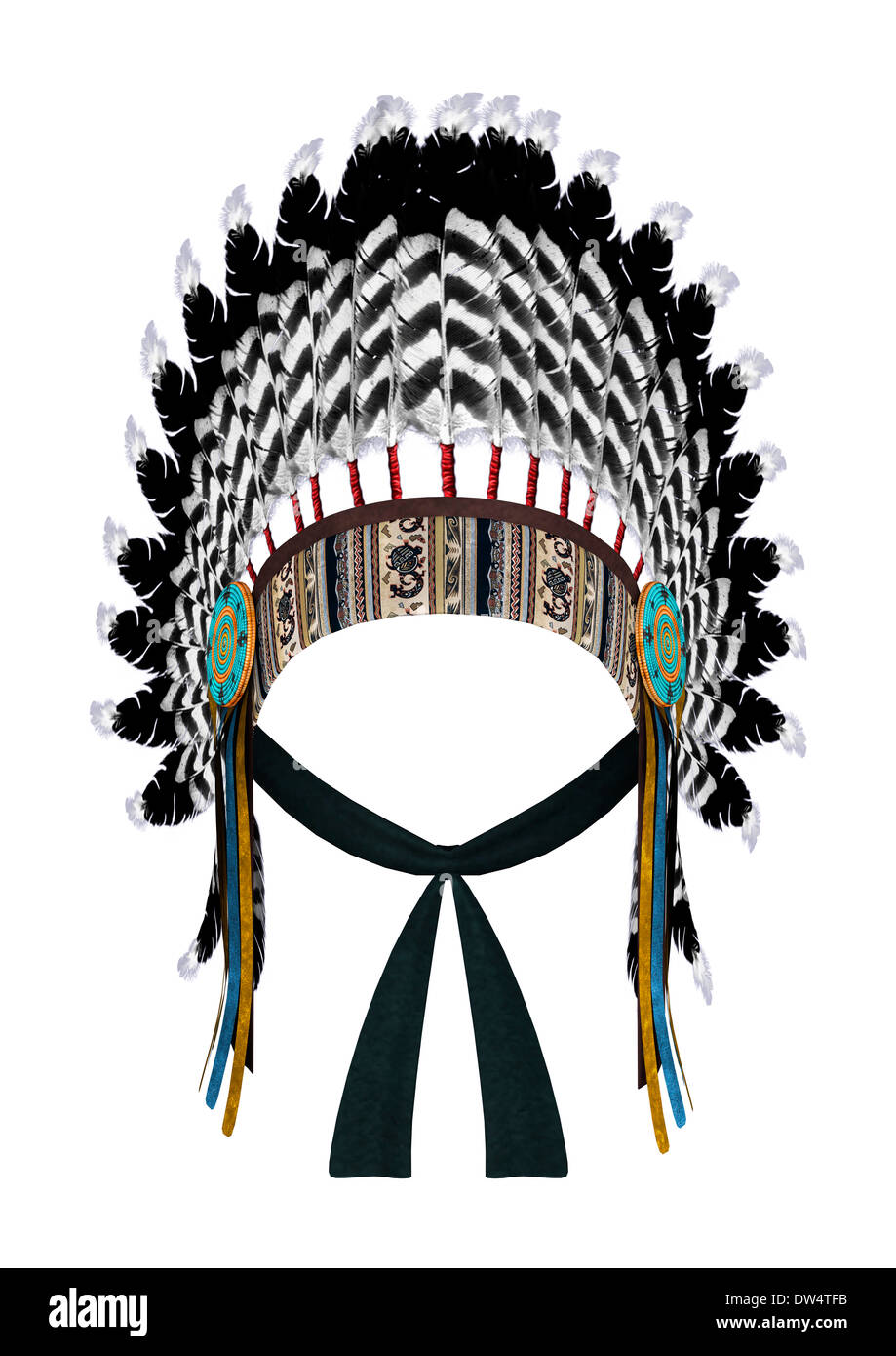 3D digital render of a Native American war bonnet isolated on white background - Stock Image