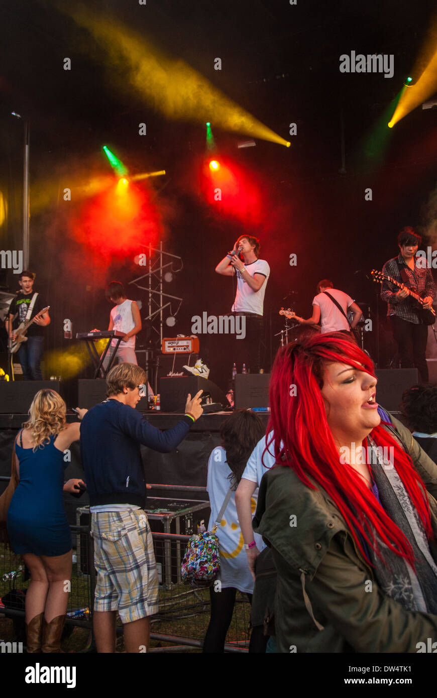 'Saving Aimee' on stage at the 2009 'Leefest'. Stock Photo