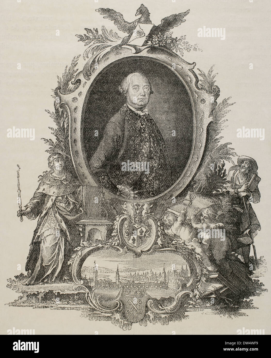 Heinrich Christopher Liber (1707-1788). German politician. Engraving Universal History, 1885. - Stock Image