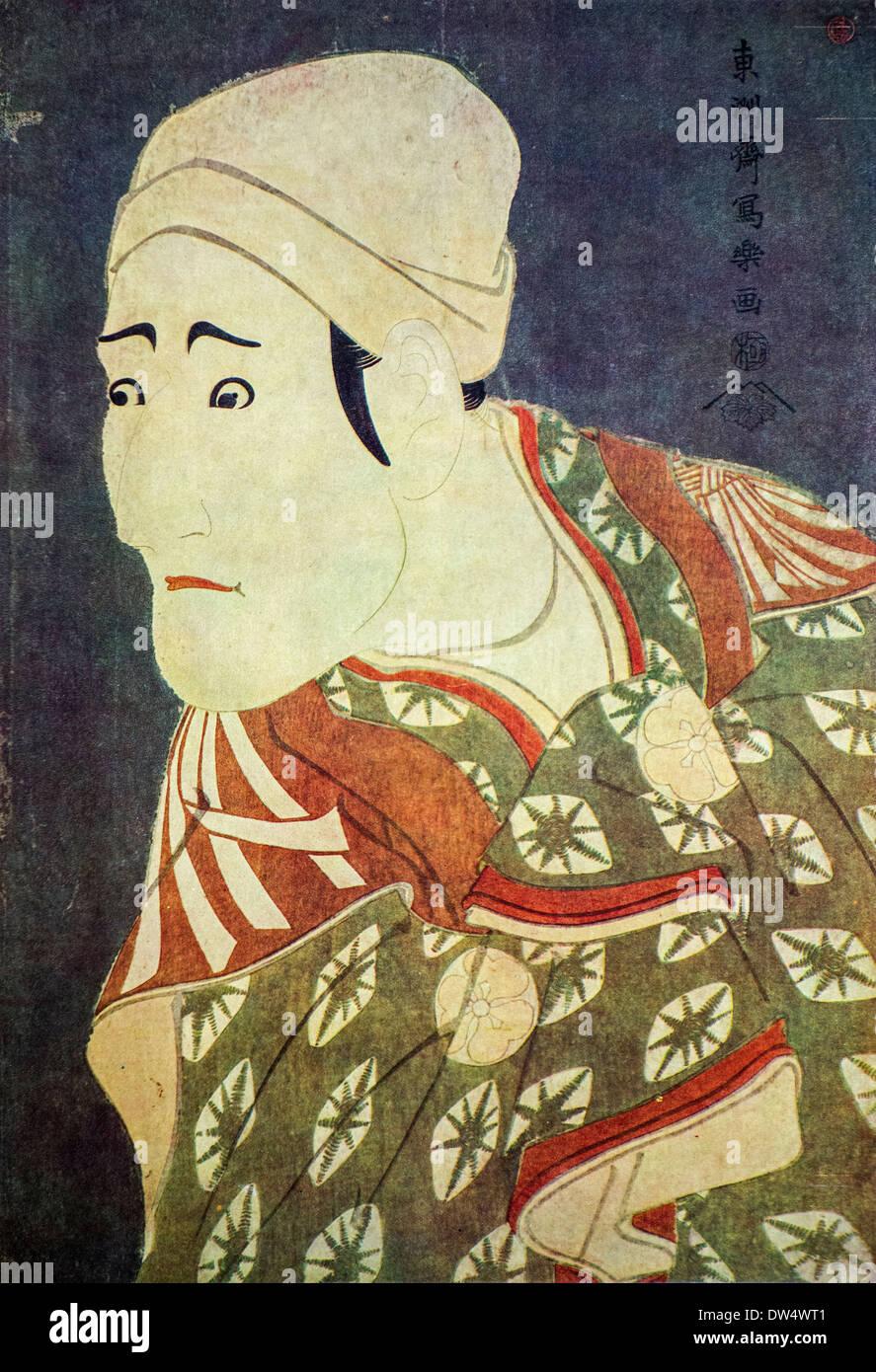 Ukiyo-e woodblock print of the actor Morita Kanya in the role of Ronin by Japanese artist Tōshūsai Sharaku, Japan - Stock Image