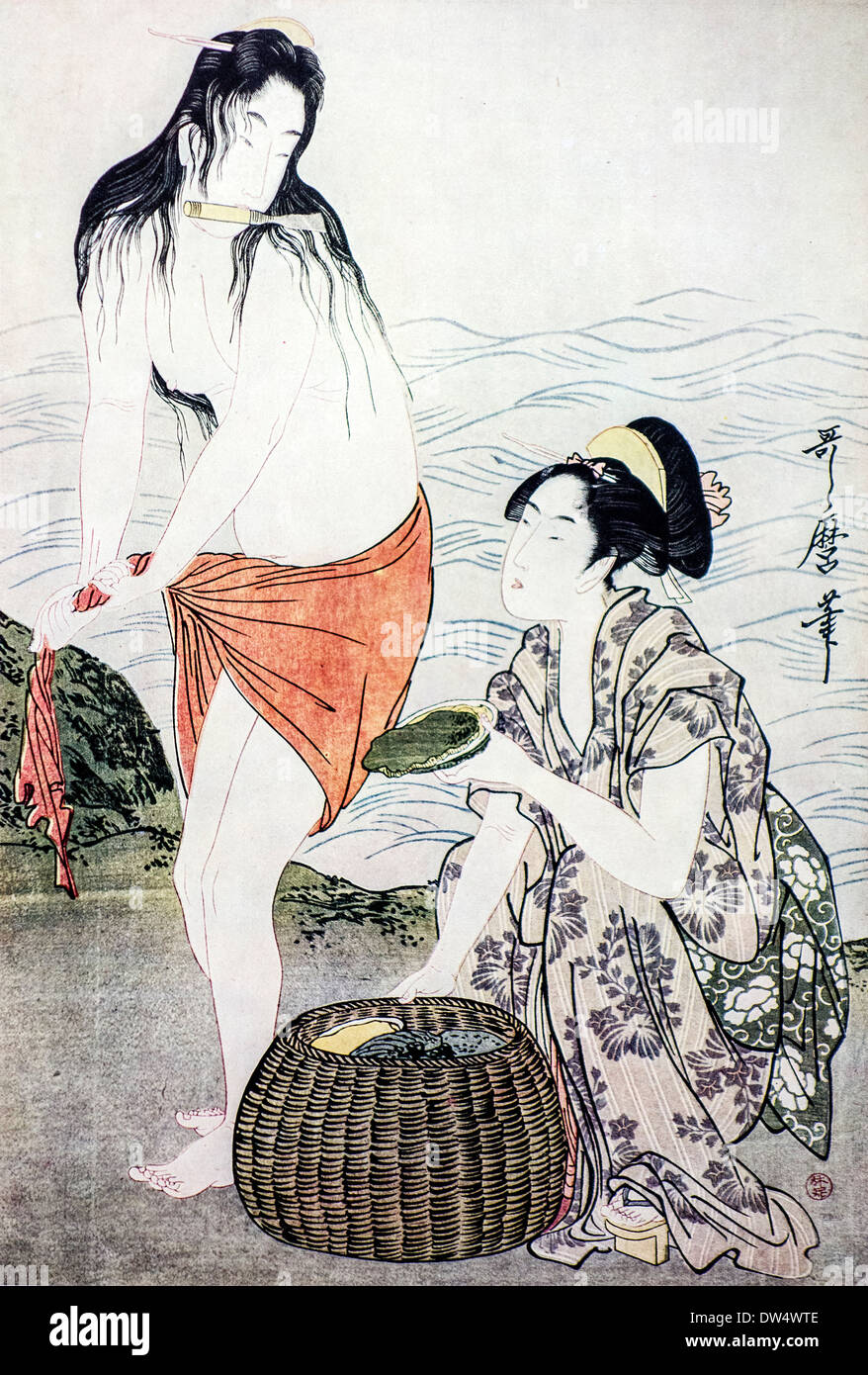 Ukiyo-e woodblock print of The Awabi Fishers by Japanese artist Kitagawa Utamaro, Japan - Stock Image