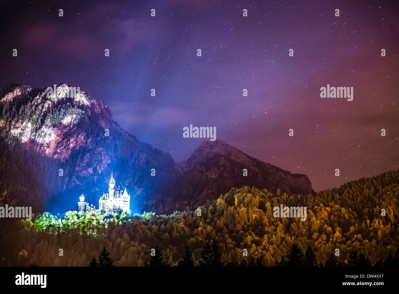 Neuschwanstein Castle at night in the Bavarian Alps of Germany. - Stock Image