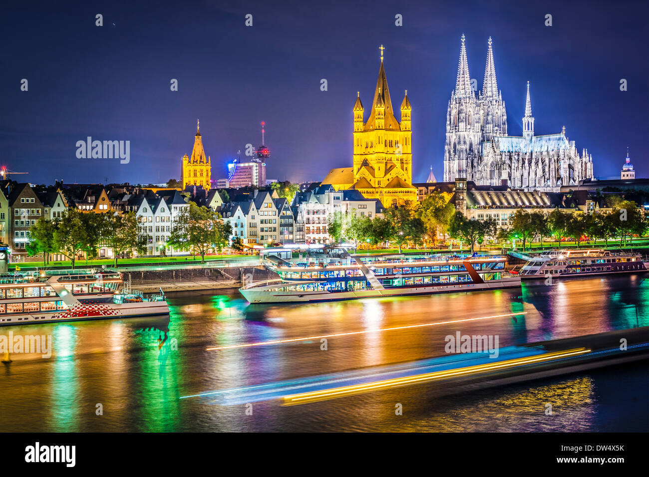 Cologne, Germany cityscape over the Rhine River. - Stock Image