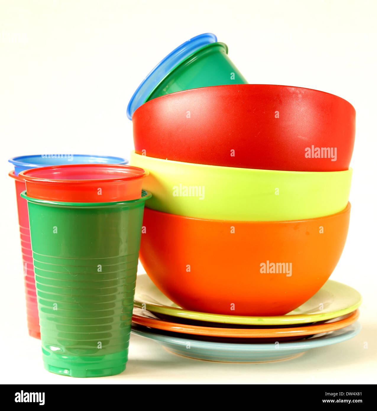 colored plastic tableware (cups bowls plates) - Stock Image  sc 1 st  Alamy & Colourful Plastic Plates Cups Bowls Stock Photos u0026 Colourful Plastic ...