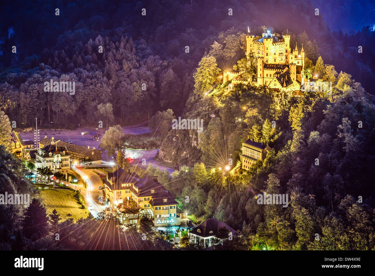 Hohenschwangau Castle at night in the Bavarian Alps of Germany. - Stock Image