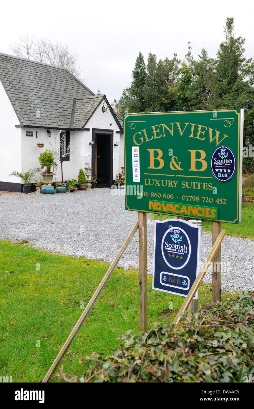 Glenview, Luss, Scottish Tourist board bed and breakfast sign - Stock Image