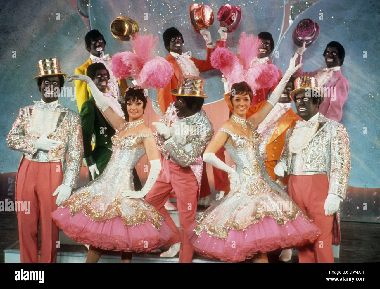 Black and white minstrel show on bbc tv about 1962 stock image