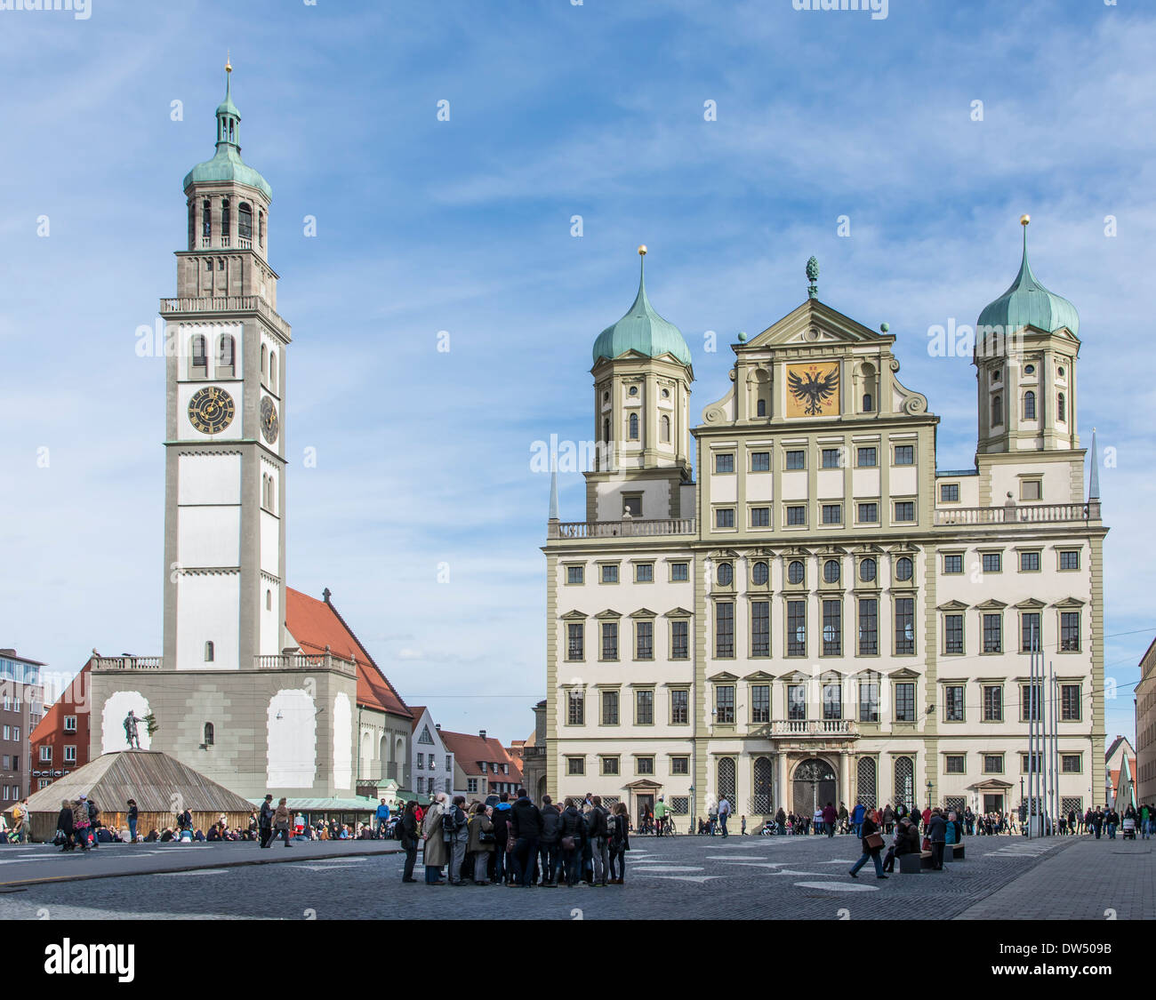 Tourists at a town square in Augsburg, Germany - Stock Image