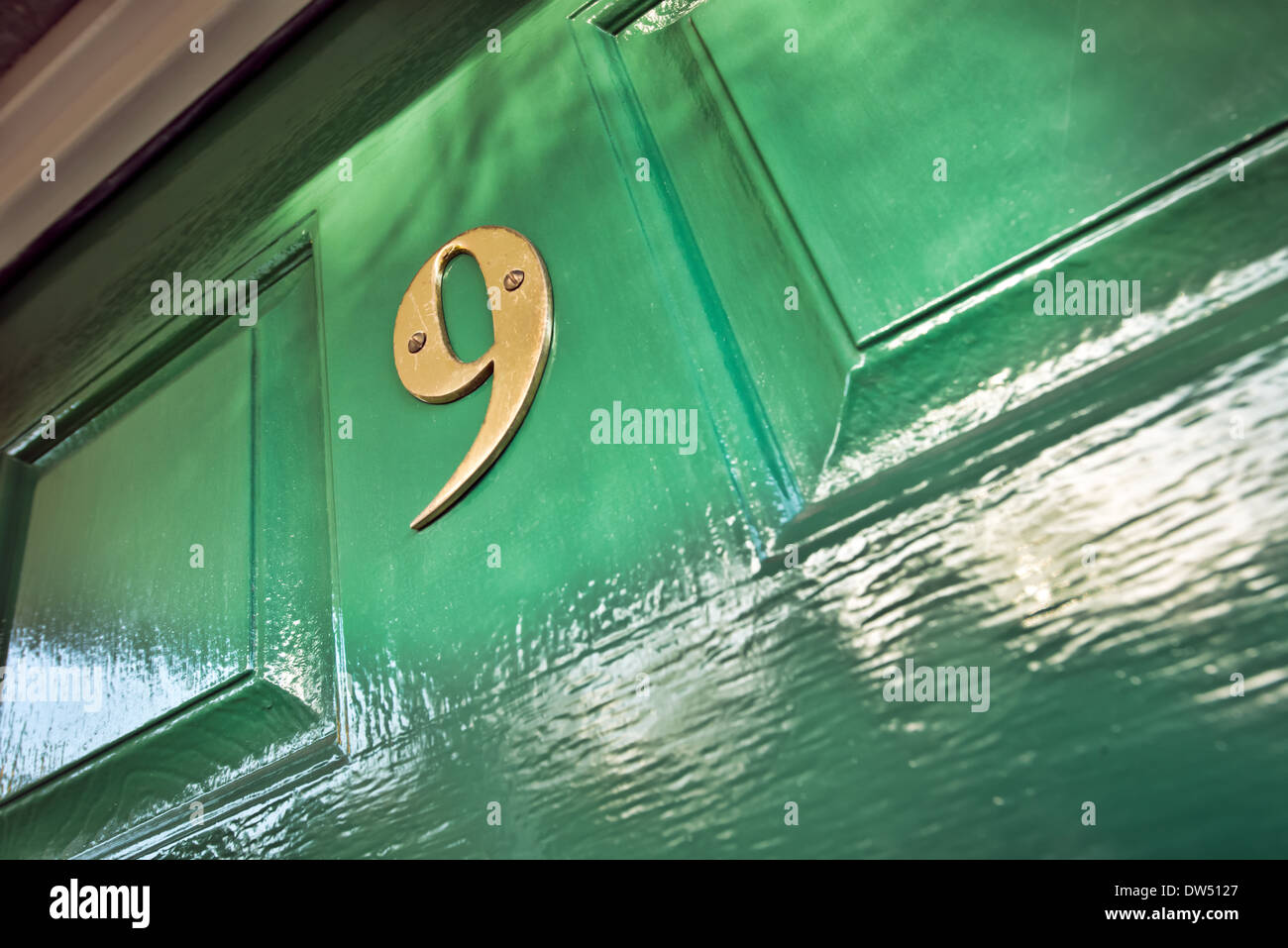 A brass number nine screwed to a green door - Stock Image