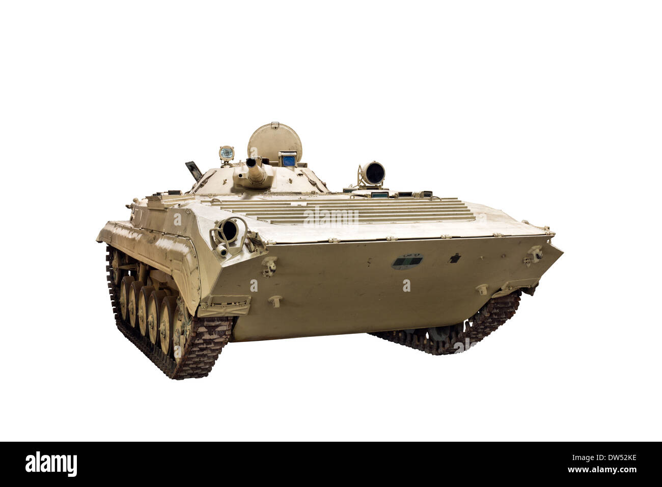 A Cut out of a BMP 1 Soviet tracked infantry fighting vehicle, a cross between an armoured personnel carrier & a light tank - Stock Image