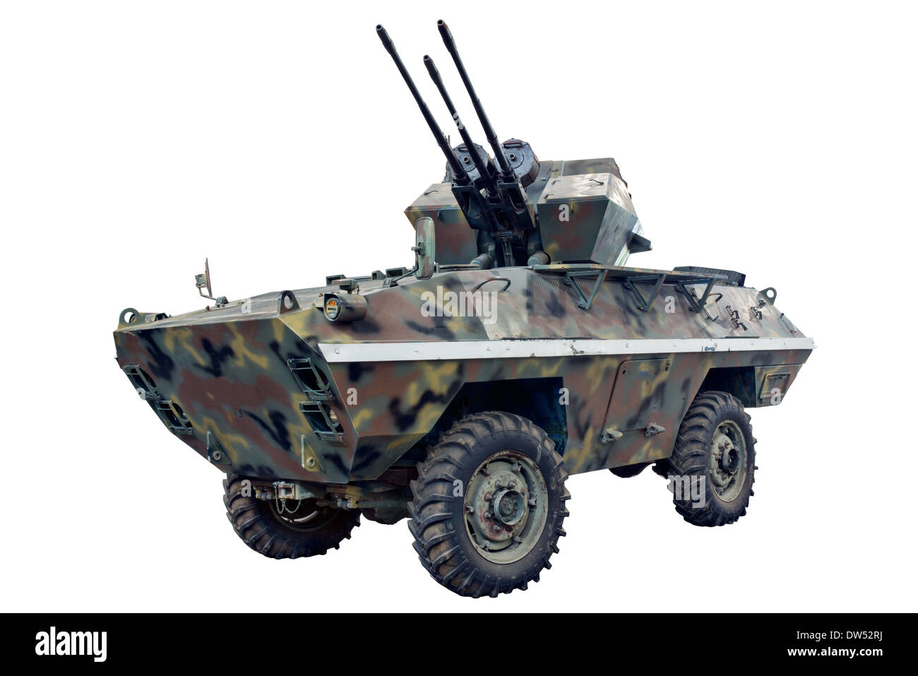 A cut out of a Yugoslavian BOV 3 mobile self propelled anti aircraft system used by forces of the Warsaw pact & still in service - Stock Image