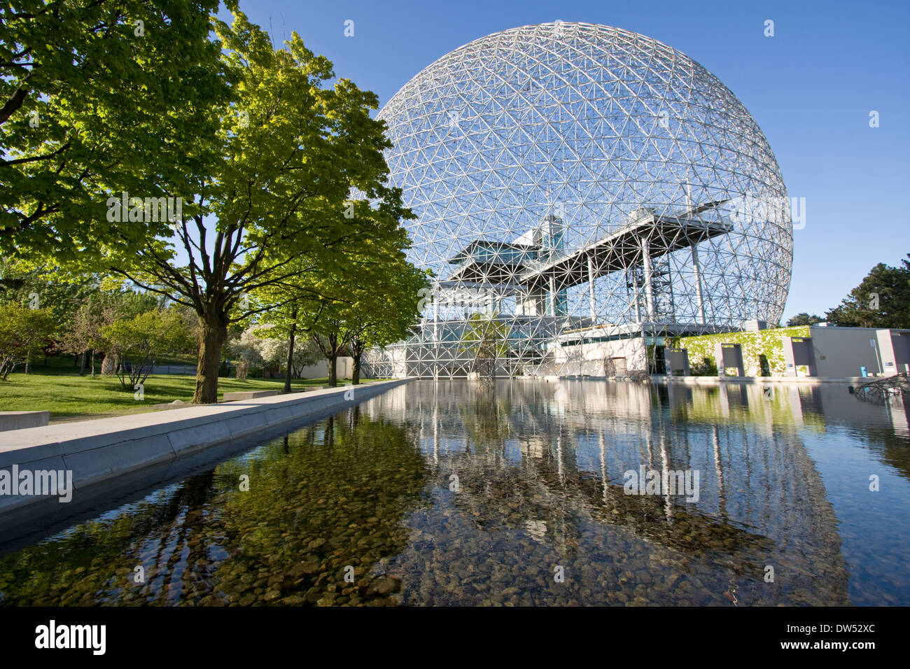 Biosphere of Montreal with nice reflections in springs, Canada - Stock Image