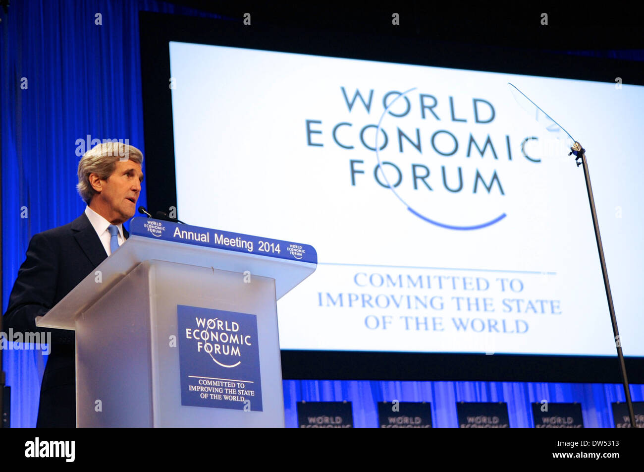 Secretary Kerry Delivers Keynote Address to Attendees at 2014 World Economic Forum - Stock Image