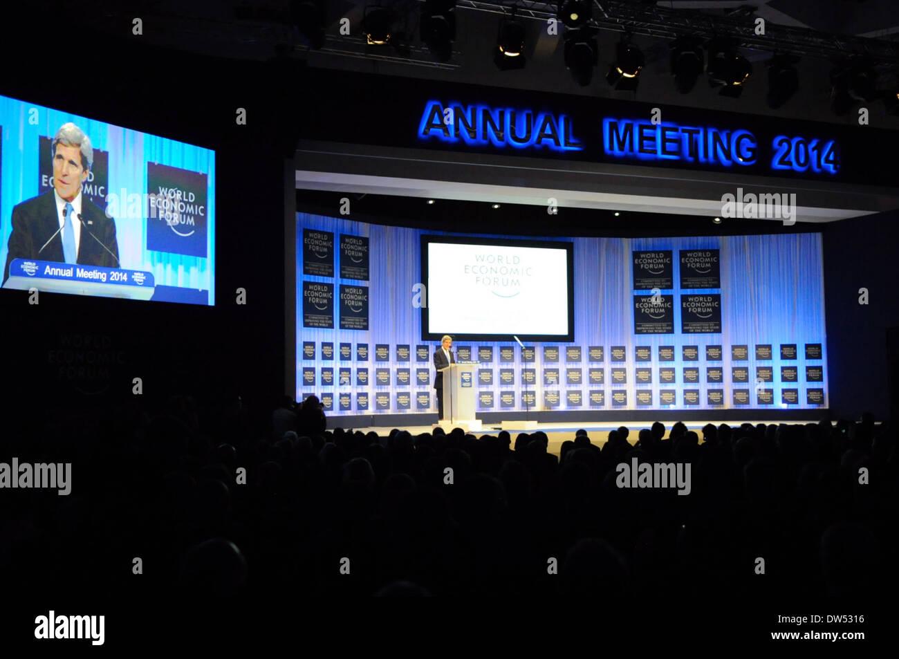 Secretary Kerry Delivers Keynote Address at 2014 World Economic Forum - Stock Image