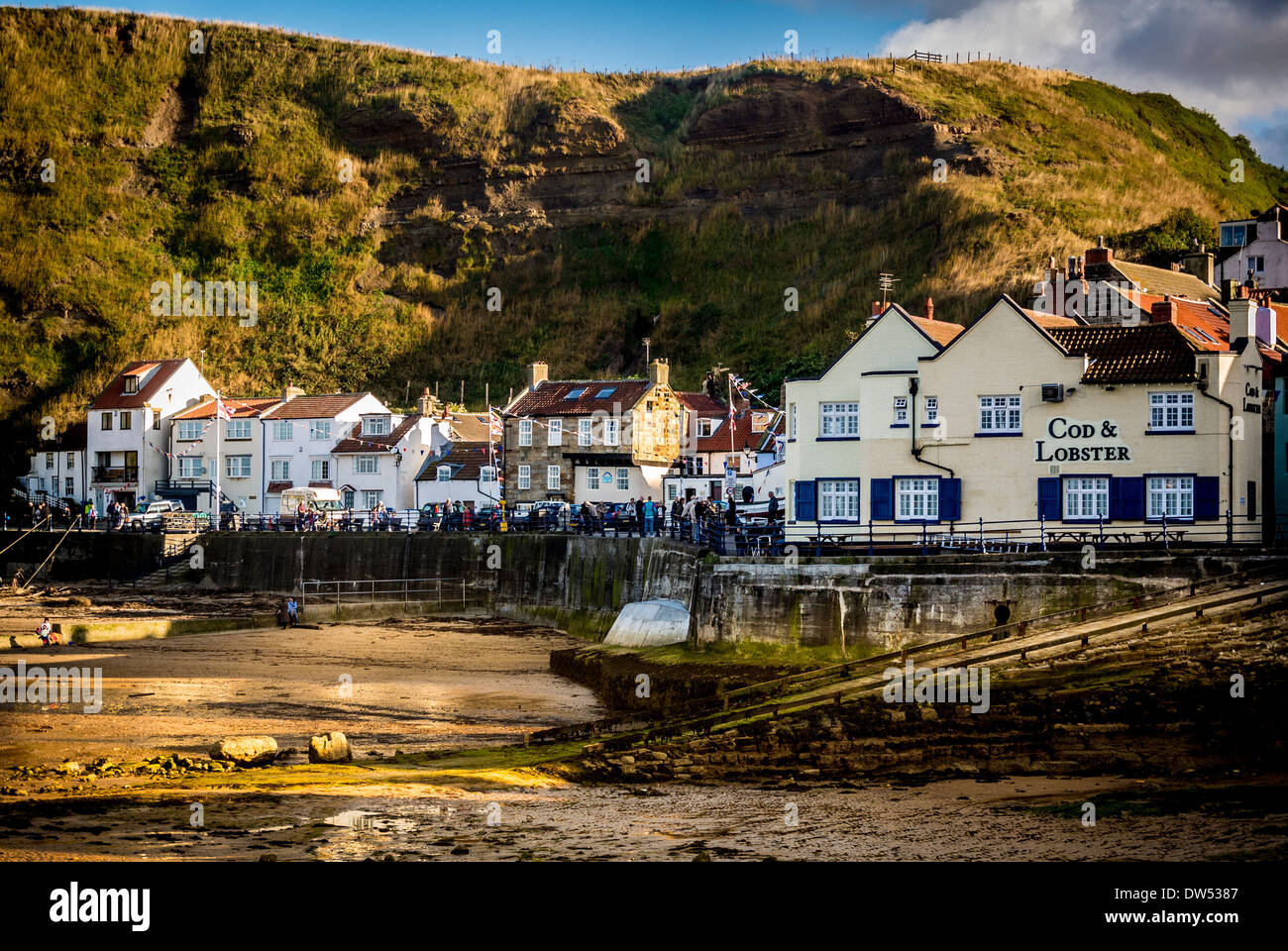 Harbour at Staithes, North Yorkshire, UK. - Stock Image