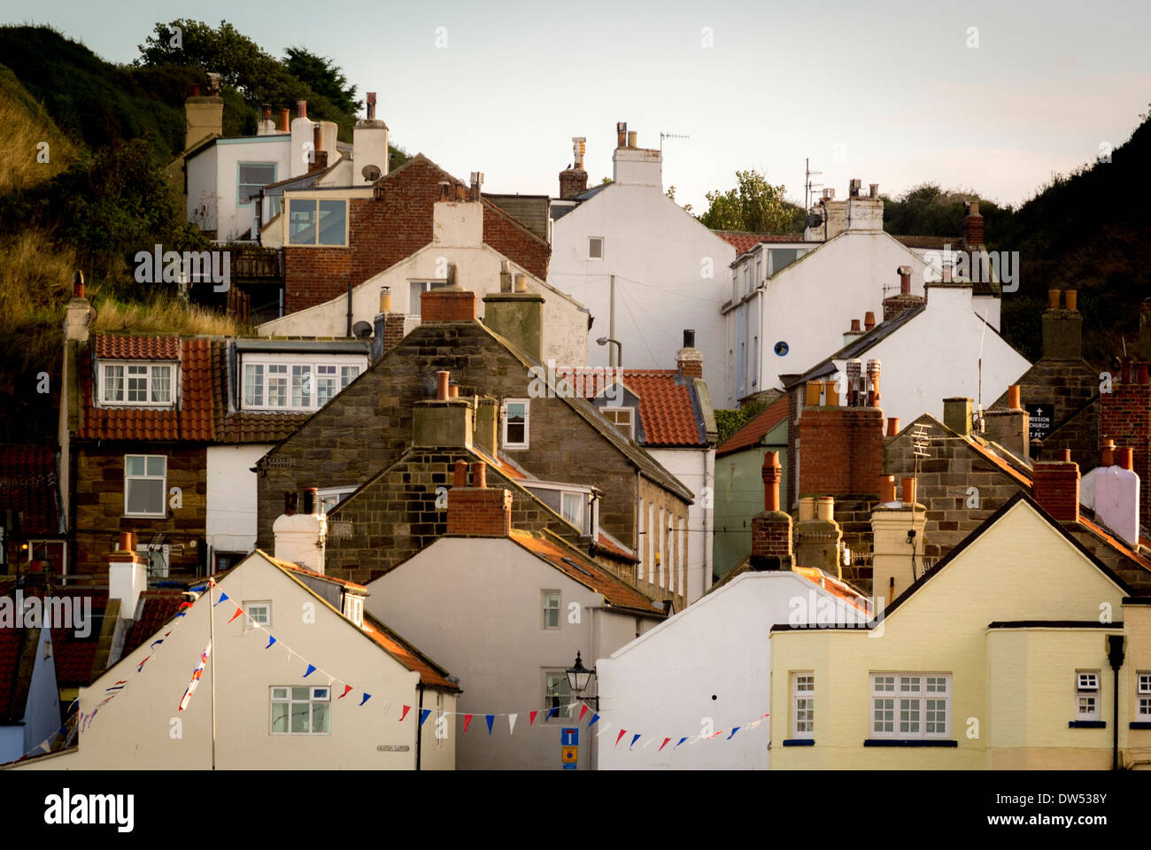 Rooftops and Chimneys, Staithes, Yorkshire, UK. - Stock Image