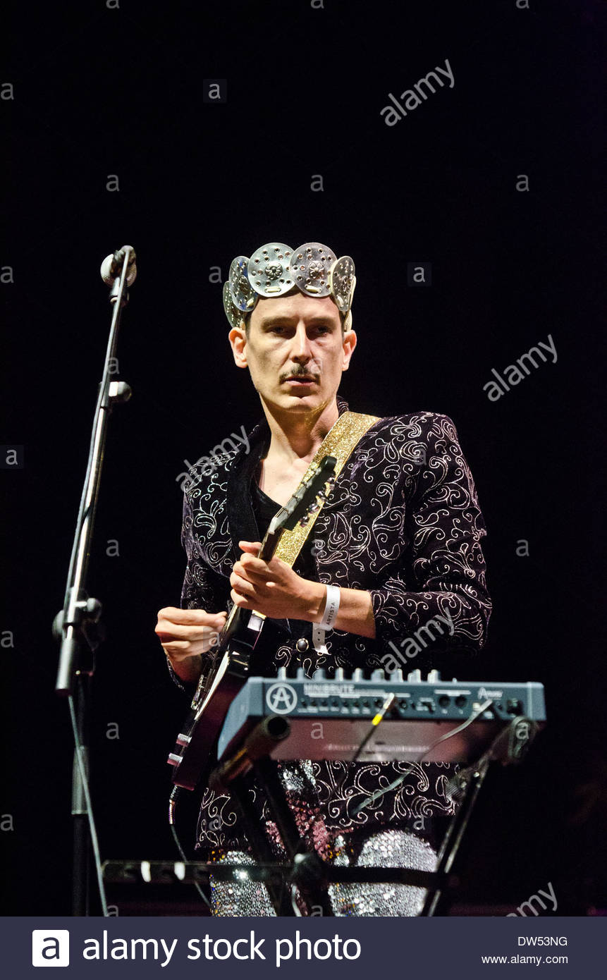 Spanish electronic pop band Hidrogenesse performs during the 'Santander Music 2013' festival. Here, Genís Segarra on keyboards. - Stock Image
