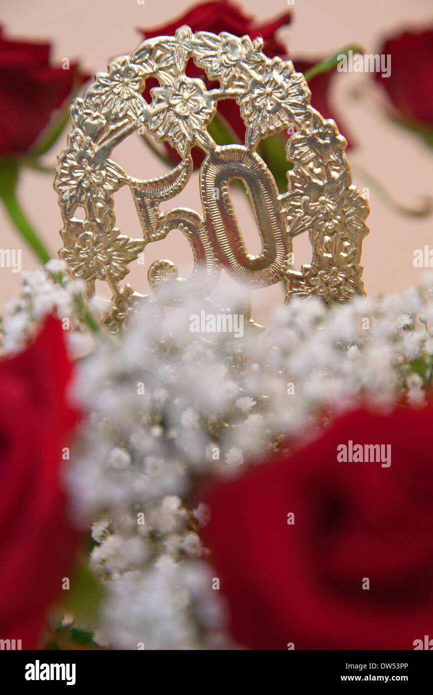 bouquet of flowers at golden wedding anniversary or 50th birthday ...