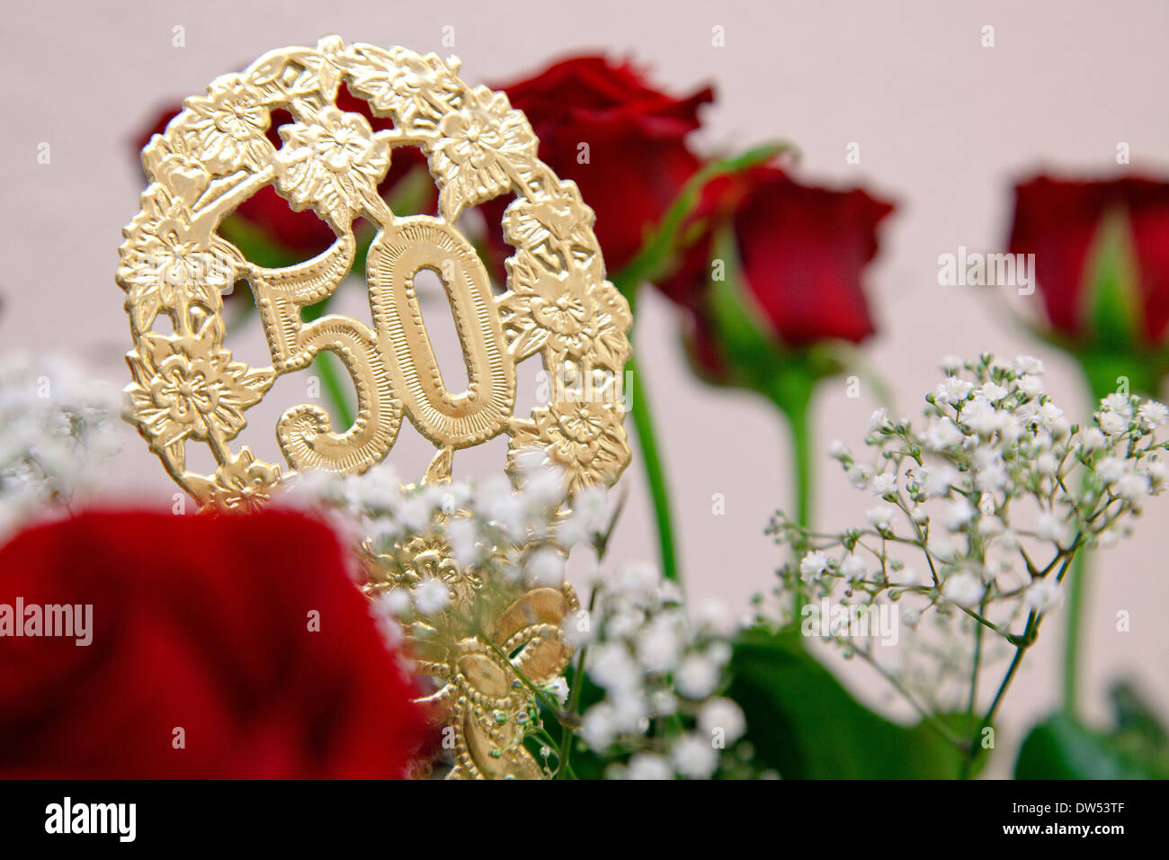 Bouquet of flowers at golden wedding anniversary or 50th birthday bouquet of flowers at golden wedding anniversary or 50th birthday izmirmasajfo