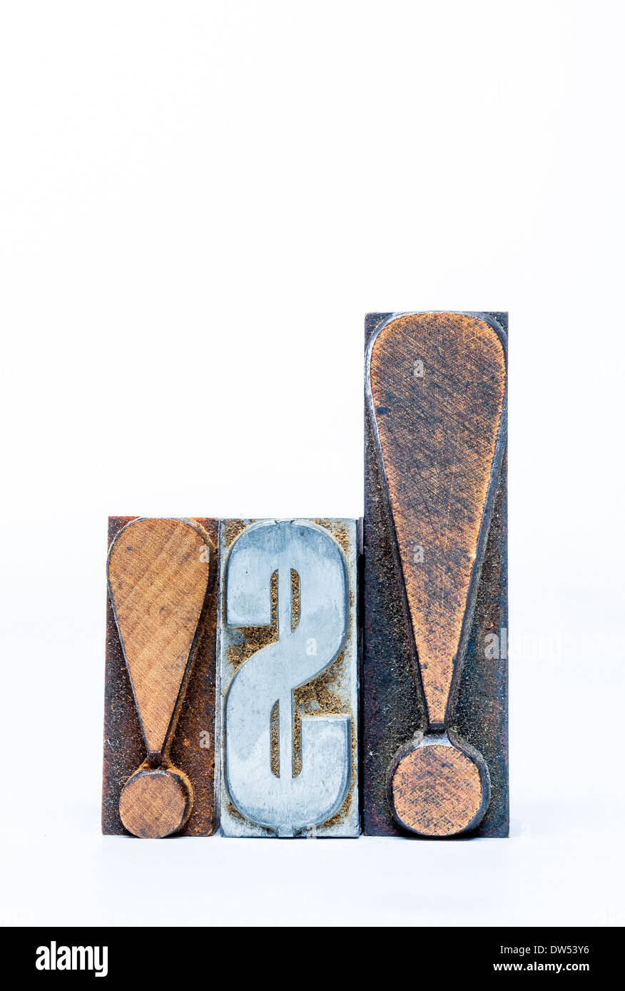 metal and wood  movable type of us dollar sign and exclamation mark - Stock Image