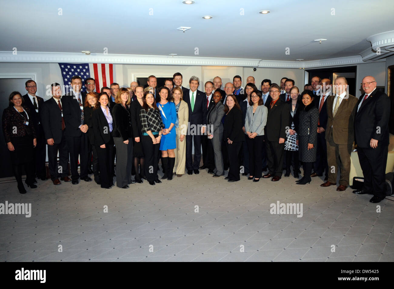 Secretary Kerry Poses for Group Photo With State Department Team in Germany - Stock Image