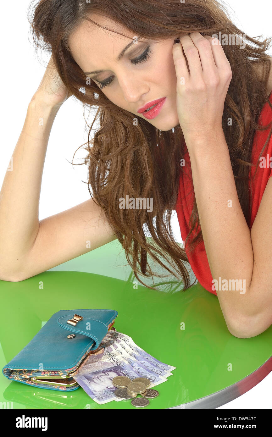 Concerned Depressed Young Woman Money Worries - Stock Image