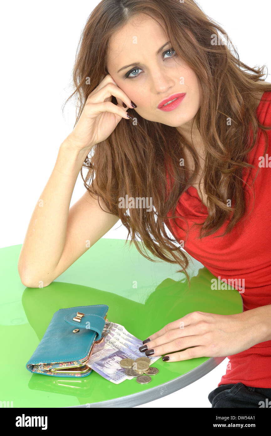 Confused Young Woman Money Worries - Stock Image