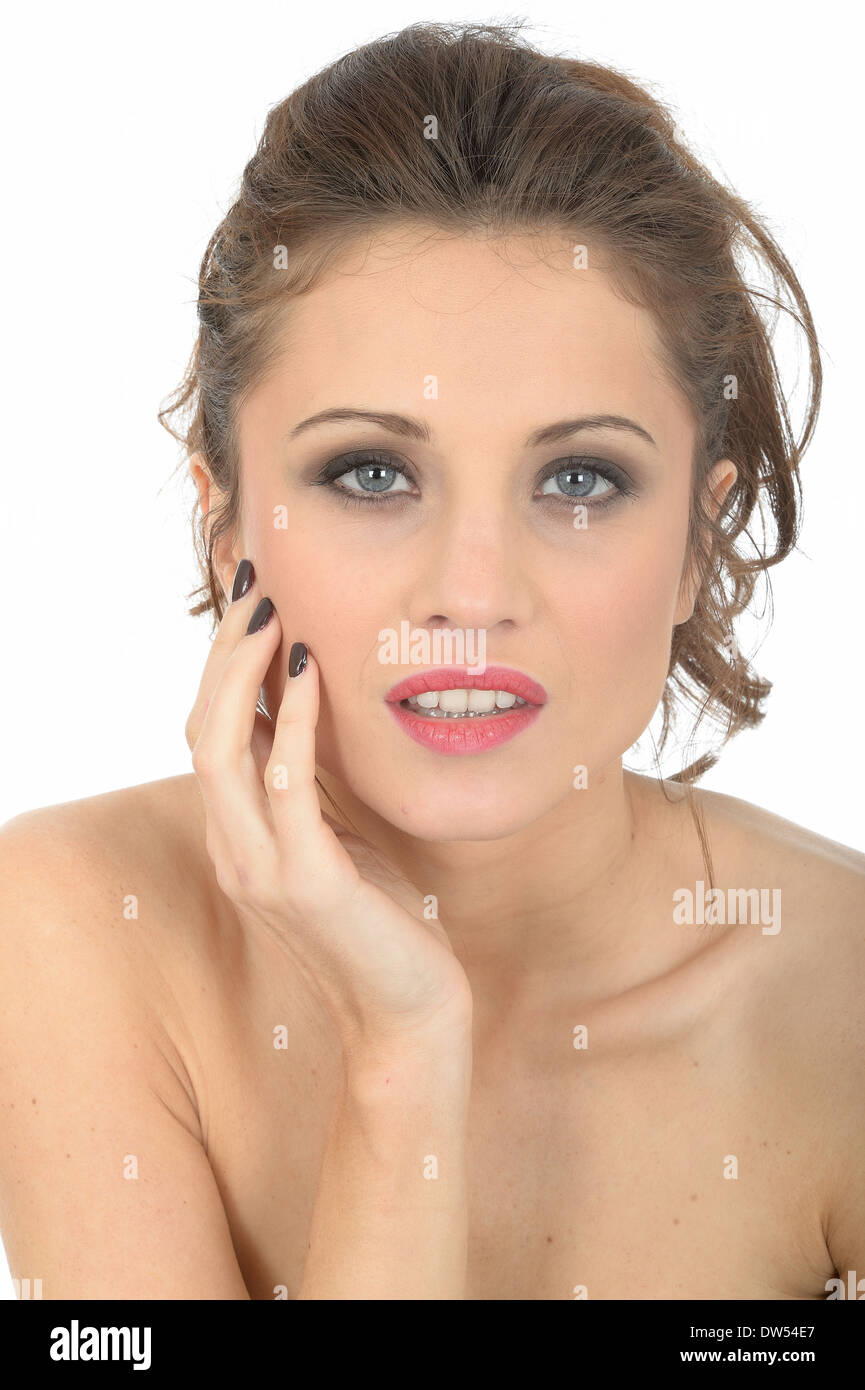 Hopeful Sad Unhappy Longing Young Woman - Stock Image
