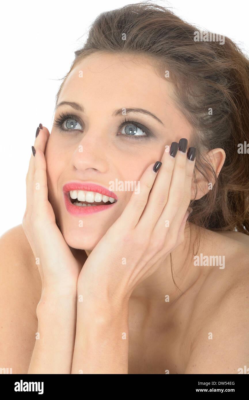 Hopeful Longing Young Woman - Stock Image