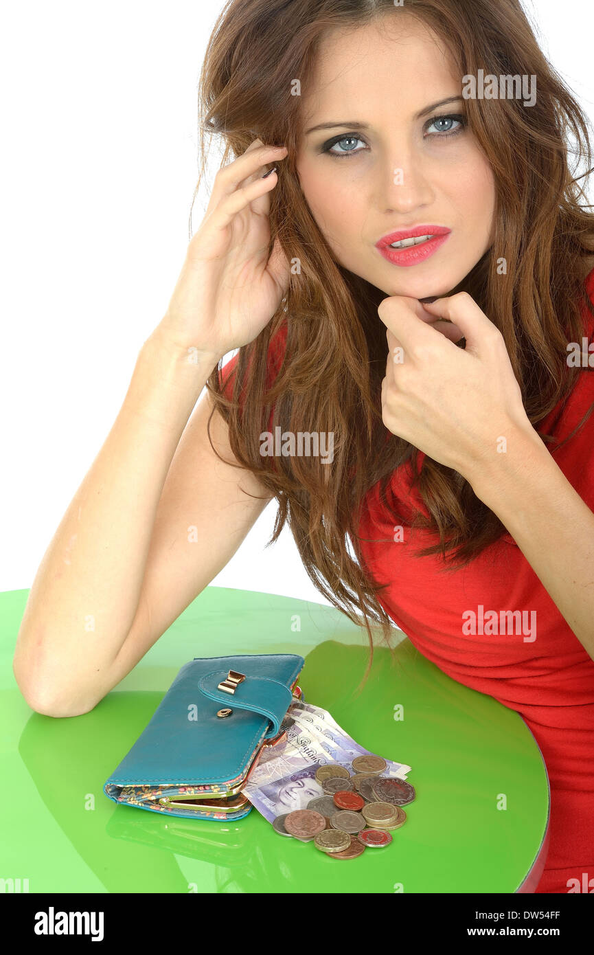 Concerned Young Woman Money Worries - Stock Image