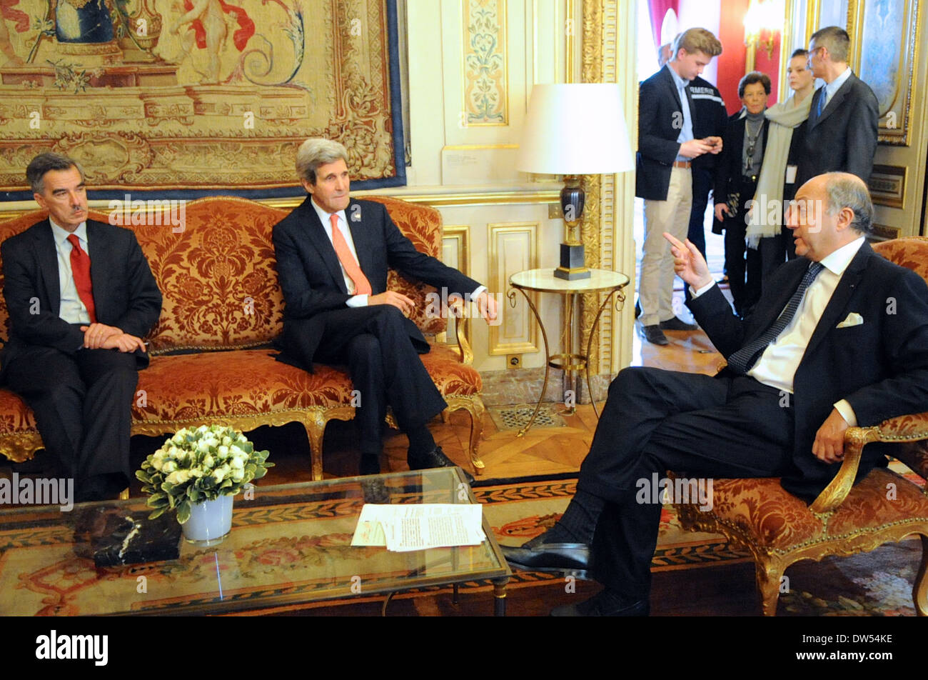 Secretary Kerry, Chargé Taplin Meet With French Foreign Minister Fabious - Stock Image