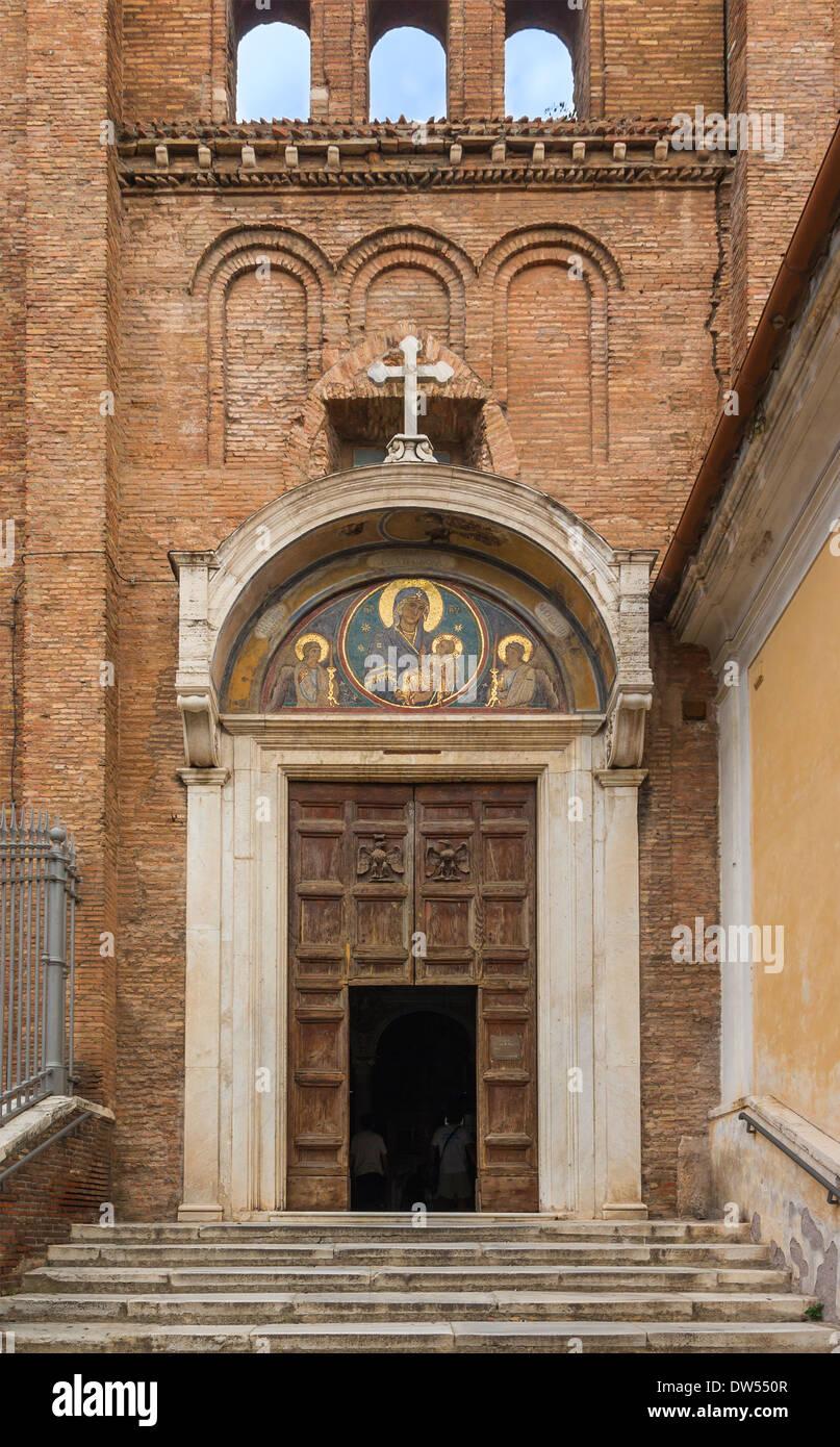 Lateral entrance of the Santa Maria in ara Coeli church in Rome, Italy - Stock Image