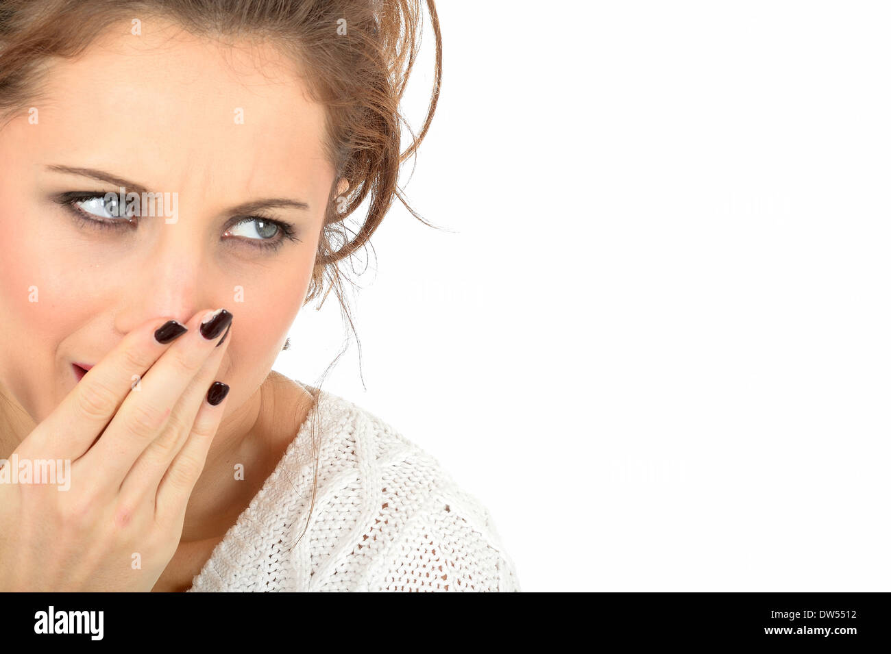 Frightened Embarrassed Young Woman - Stock Image