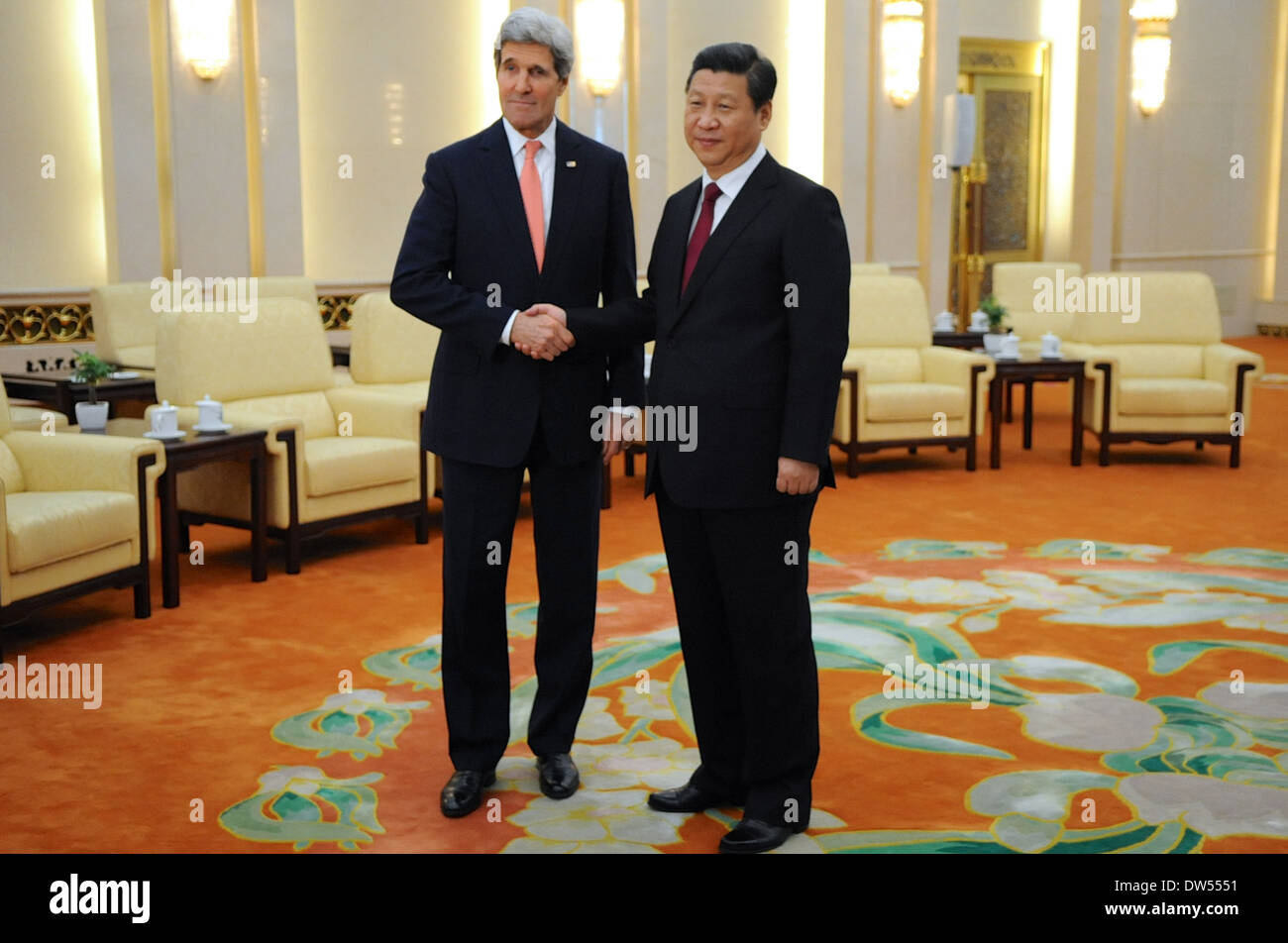 Secretary Kerry and Chinese President Xi Pose for Photographers - Stock Image