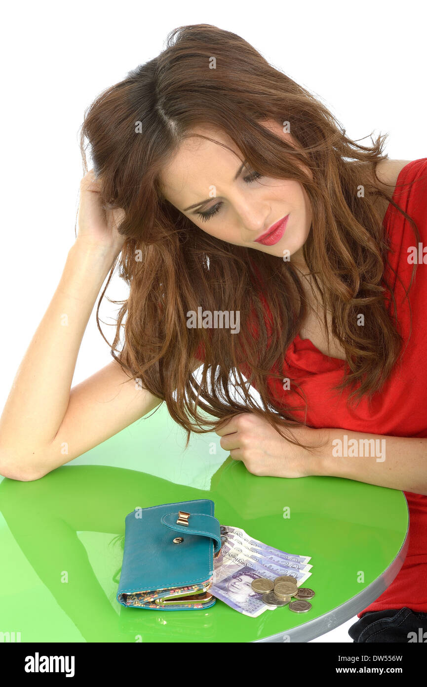 Depressed Young Woman Money Worries - Stock Image