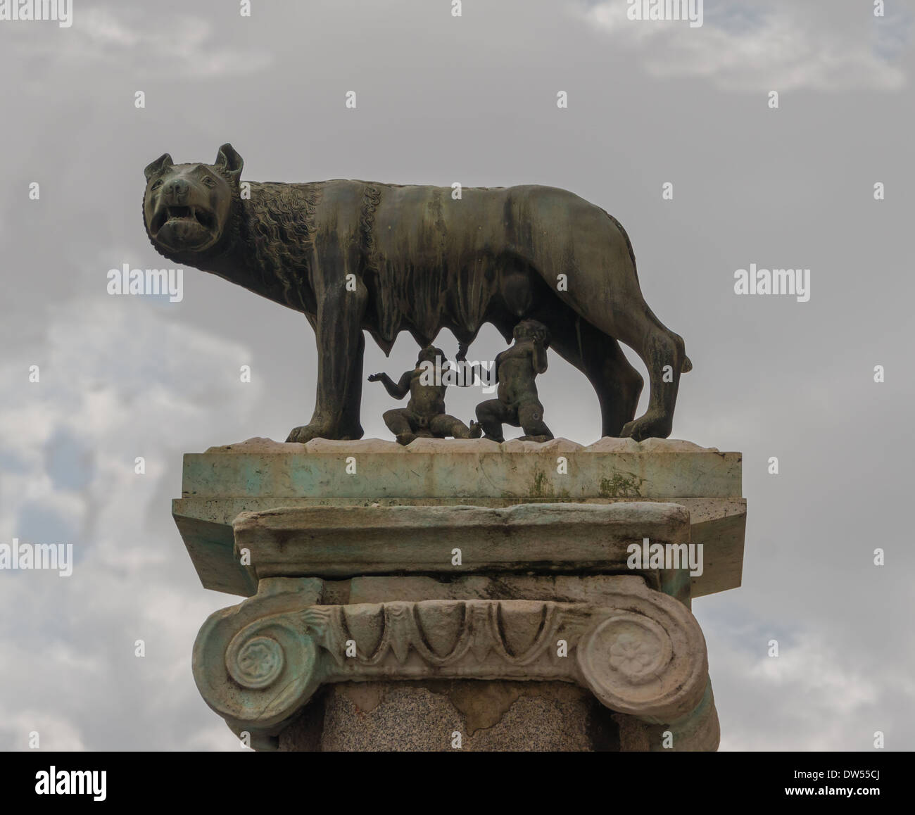 Replica of the roman she-wolf, Romulus and Remus, Capitole, Rome, Italy. - Stock Image