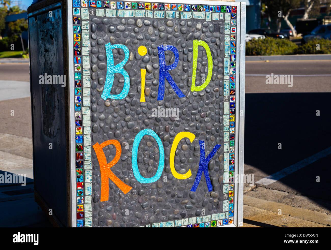Bird Rock sign on a trash can.  La Jolla, California, United States. - Stock Image