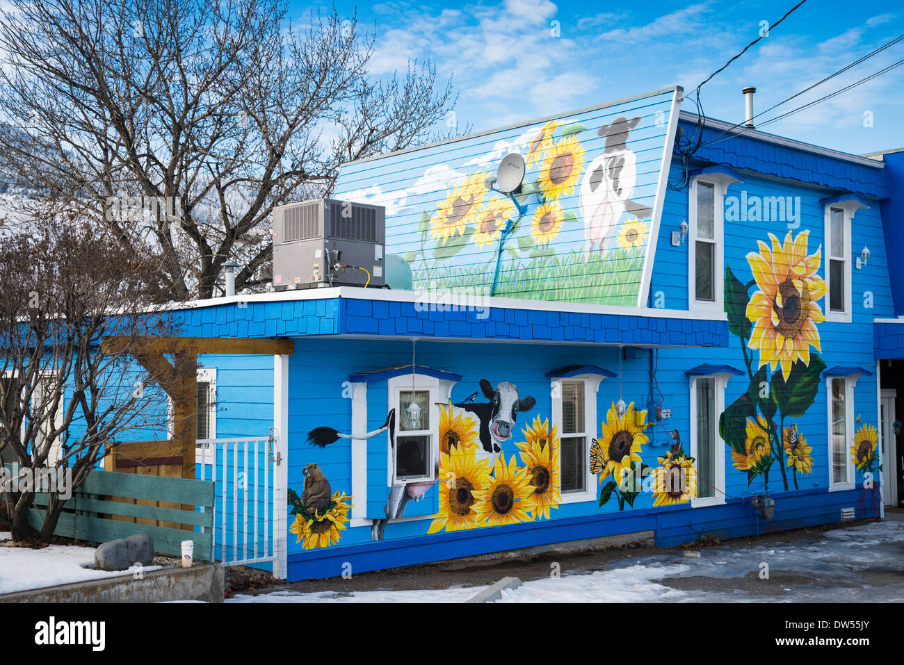 House painted with sunflowers and cows, Cache Creek, British Columbia, Canada - Stock Image