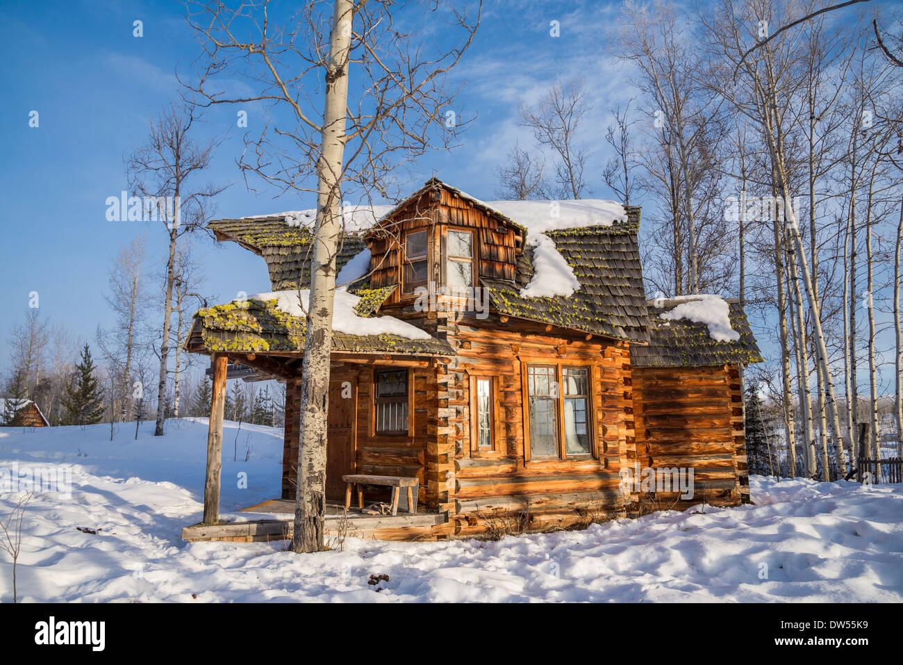 Funky log cabin, , 83 Mile House, Cariboo Region, British Columbia, Canada - Stock Image