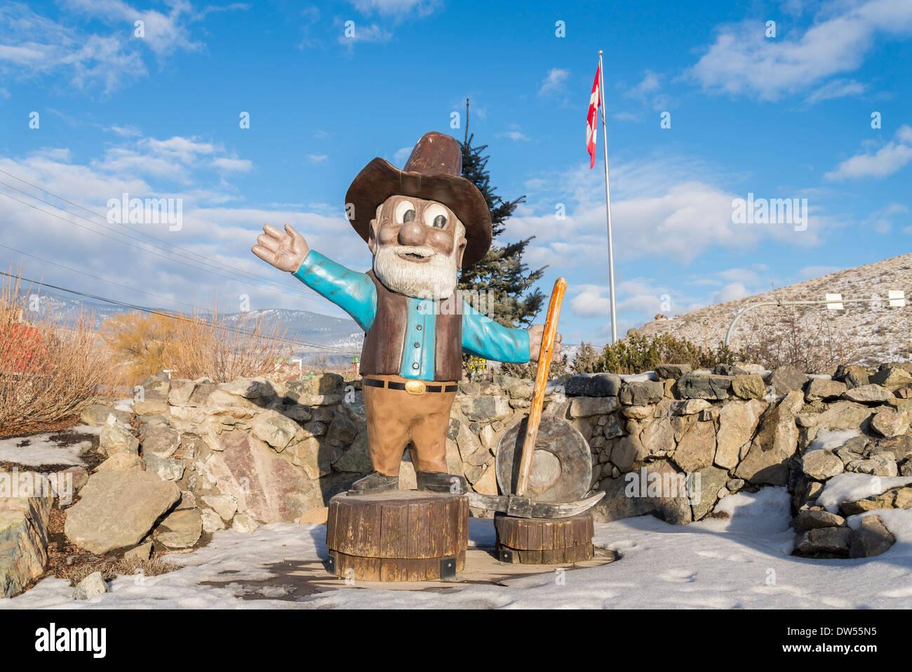 Gold Miner, prospector town mascot, Cache Creek, British Columbia, Canada - Stock Image