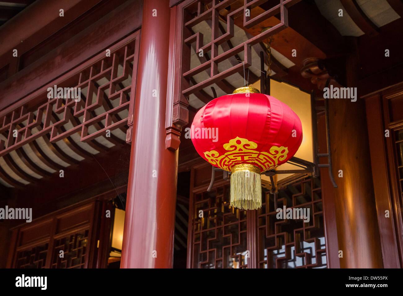 Red silk Chinese lantern, Dr Sun Yat Sen Garden, Vancouver, British Columbia, Canada - Stock Image