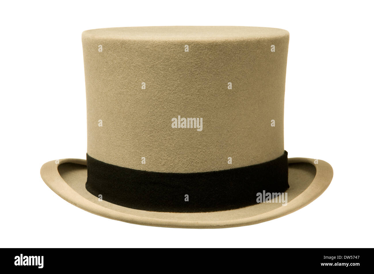 Vintage gray top hat against white background - Stock Image