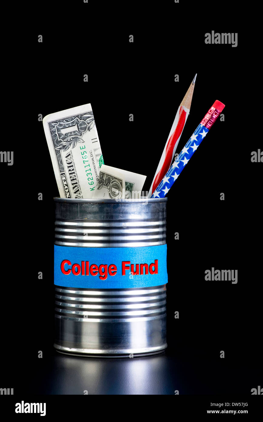 College fund tin can with cash. - Stock Image