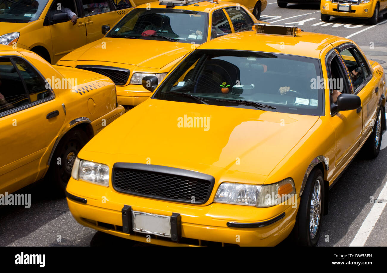 Yellow taxi, New York City - Stock Image
