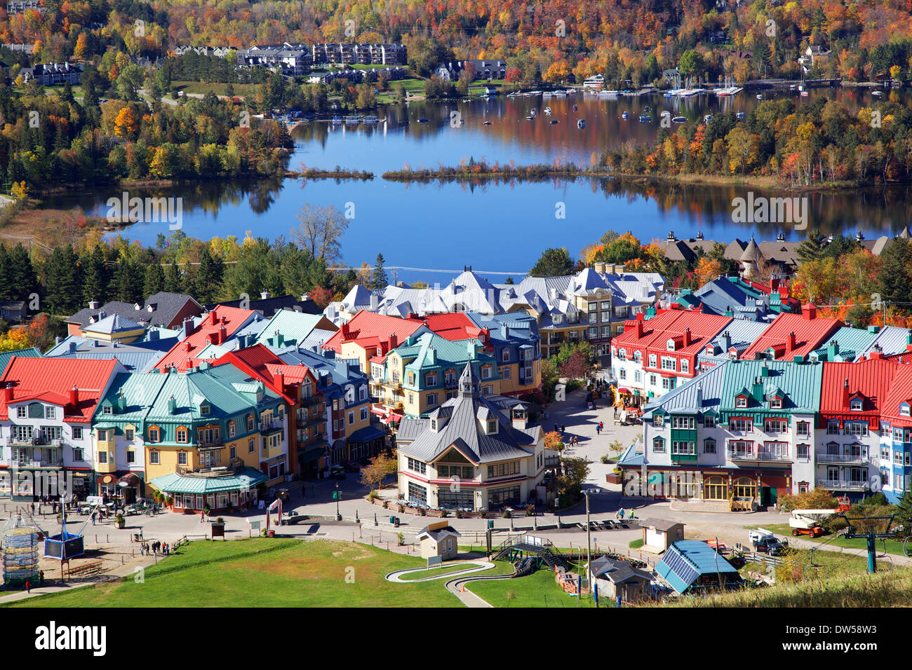 Mont Tremblant Lake and village in autumn, Quebec, Canada - Stock Image