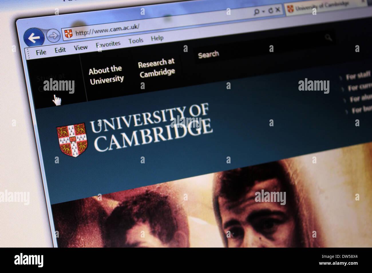 University of Cambridge website - Stock Image